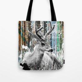 Deer in the Industrial Woods Tote Bag