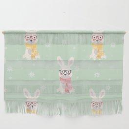 White rabbit Christmas pattern 001 Wall Hanging