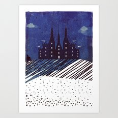 Castle on the hill (snowy night) Art Print