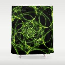 Dancing Green Light, Abstract Fractal Art Shower Curtain