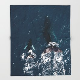 Ocean Family Whales Throw Blanket