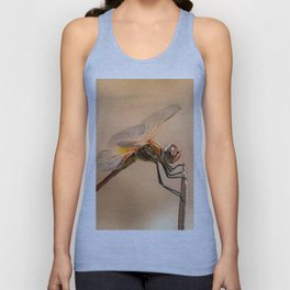 Painted Dragonfly Isolated Against Ecru Unisex Tank Top