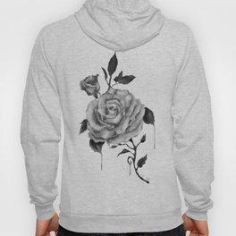 Black and White Rose Flower Hoody