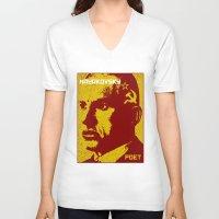 soviet V-neck T-shirts featuring Vladimir Mayakovsky, Soviet Poet by Adam Metzner
