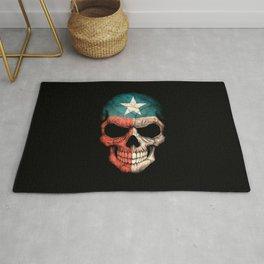 Dark Skull with Flag of Texas Rug