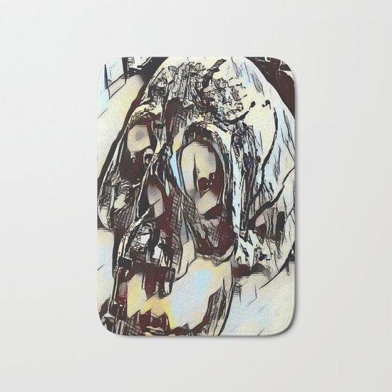 Metal Paper Skull Bath Mat