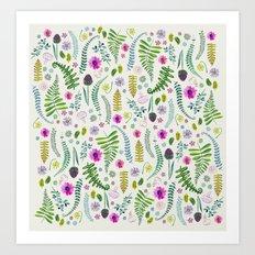 Ferns and Flowers Art Print