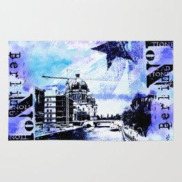 Berlin urban blue mixed media art Rug
