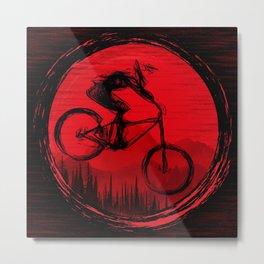 Red Moon Bike Metal Print