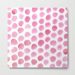 Pink Polka Dot Watercolour Metal Print