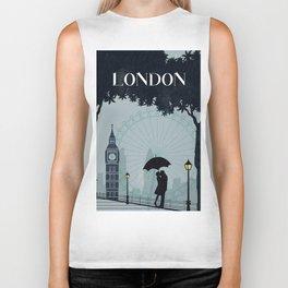 London vintage poster travel Biker Tank