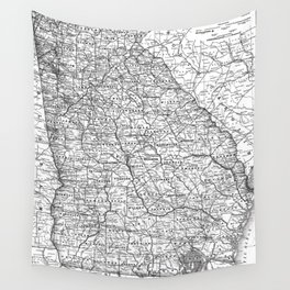 Vintage Map of Georgia (1883) BW Wall Tapestry