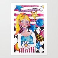 patriotic Art Prints featuring Patriotic Girl by Judy Skowron