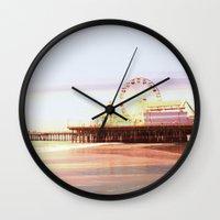 santa monica Wall Clocks featuring Santa Monica Pier Sunrise by Christine aka stine1