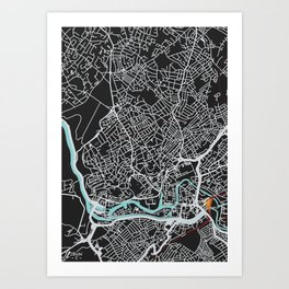 Bristol Map (noir) Art Print