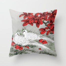 Vintage White Doves and Red Leaves on Gray / Grey Throw Pillow
