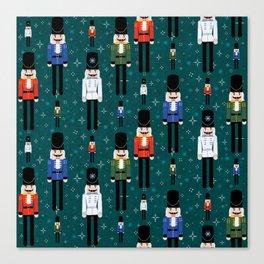 Christmas Nutcracker Soldiers Winter Pattern in Green Canvas Print