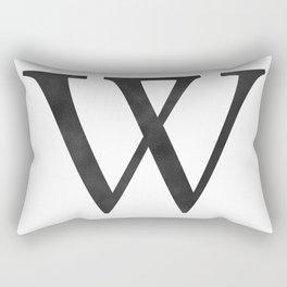 Letter W Initial Monogram Black and White Rectangular Pillow