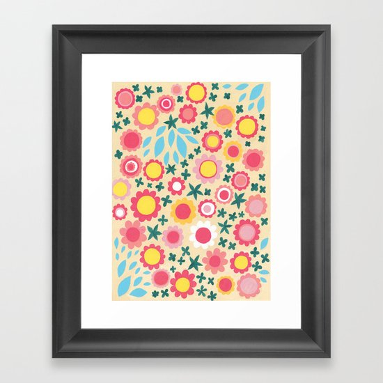 Crowded Colourful Flowers Framed Art Print