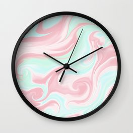 Abstract pink coral teal turquoise watercolor pattern Wall Clock