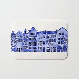 Row of Houses – Navy Palette Bath Mat
