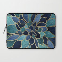 Festive, Floral Prints, Navy Blue, Teal and Gold Laptop Sleeve