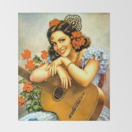 Mexican Calendar Girl with Guitar by Jesus Helguera Throw Blanket