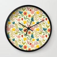 scandinavian Wall Clocks featuring Scandinavian summer by Olly Dolly Design