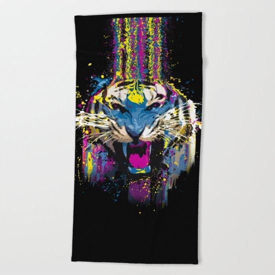 Inked Tiger Beach Towel