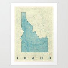 Idaho State Map Blue Vintage Art Print