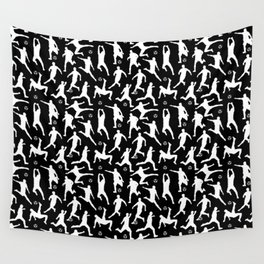 Soccer Players // Black Wall Tapestry
