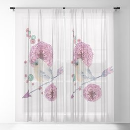 Cute Bird and Dandelion Sheer Curtain