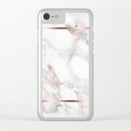 Luxury Rose-gold Faux Marble Clear iPhone Case