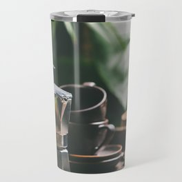 Coffee maker pot and cups on tropical leaves background Travel Mug