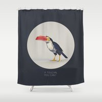 toucan Shower Curtains featuring TOUCAN by Dinosaur Design