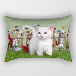 White Kitten with Blue Eyes in Flower Garden Rectangular Pillow