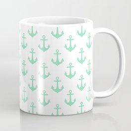 Anchors (Mint & White Pattern) Coffee Mug