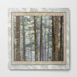 MISTY GOLDEN LIGHT IN A TOLKIENESQUE FOREST Metal Print