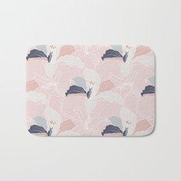 Tropical Pastel Blush Modern Floral Bath Mat