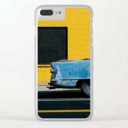 Rusty Blue Car and Yellow Wall Clear iPhone Case