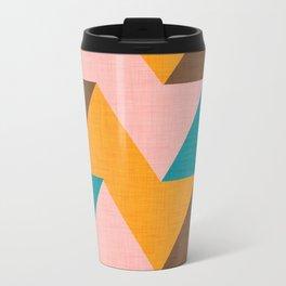 Kilim Chevron pink yellow Travel Mug