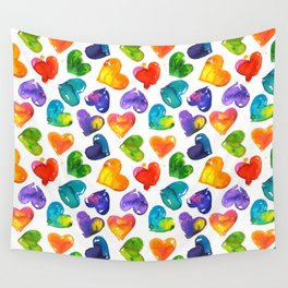 Watercolor colorful lips pattern Wall Tapestry