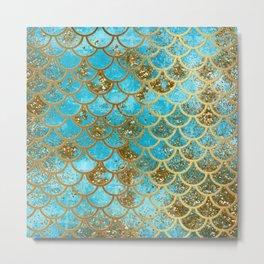 Aqua Teal & Gold Glitter MermaidScales - Mermaid Scales And Sea Foam Metal Print