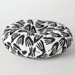 Papier Découpé Modern Abstract Cutout Pattern in Black and White Floor Pillow