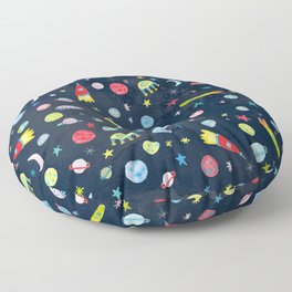 Outer Space Universe Watercolor Pattern Floor Pillow