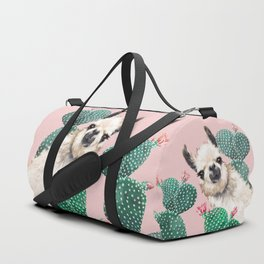 Llama and Cactus Pink Duffle Bag