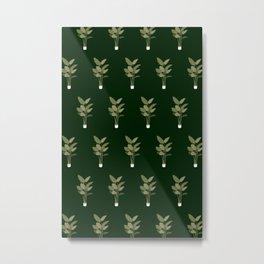 Green Indoor Plant Pattern Metal Print