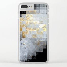 Squares in Gold and Silver Clear iPhone Case
