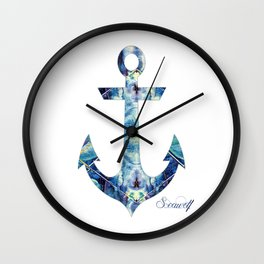 Abstract Blue Anchor Wall Clock