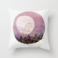 the moon Throw Pillows featuring moon by Laura Graves